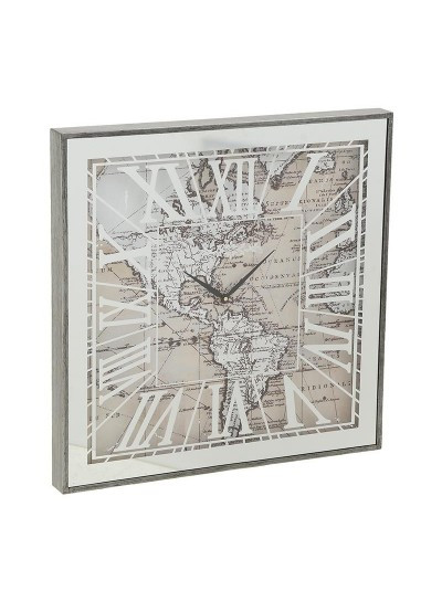 "INART Μεταλλικό Ρολόι Τοίχου ""Χάρτης Αμερικής"" Κωδικός: 3-20-237-0002 Διαστάσεις: 60Χ60Χ5 Εκατοστά"