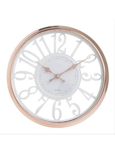 INART Πλαστικό Ρολόι Τοίχου Μπρονζέ/Λευκό Κωδικός: 3-20-284-0132 Διαστάσεις: 30,5Χ4 Εκατοστά