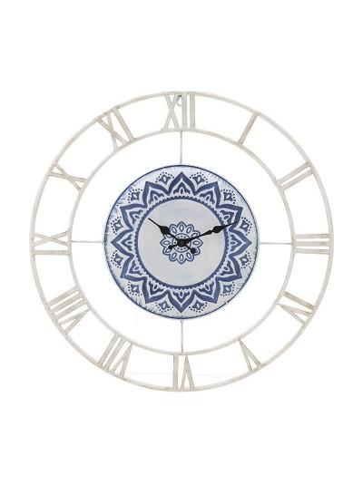 INART Μεταλλικό Ρολόι Τοίχου Λευκό/Μπλε Κωδικός: 3-20-400-0001 Διαστάσεις: 60Χ5 Εκατοστά