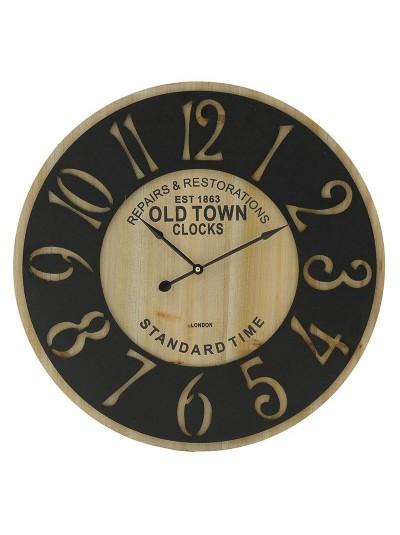 INART Μεταλλικό Ρολόι Τοίχου Μαύρο/Natural Κωδικός: 3-20-463-0009 Διαστάσεις: 58Χ3 Εκατοστά