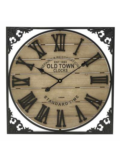 INART Ρολόι Τοίχου Ξύλινο/Μεταλλικό Τετράγωνο Κωδικός: 3-20-463-0015 Διαστάσεις: 60Χ4,5Χ60 Εκατοστά