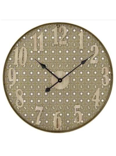 INART Ρολόι Τοίχου Μεταλλικό/Ξύλινο Natural/Χρυσό Κωδικός: 3-20-484-0447 Διαστάσεις: 60Χ5 Εκατοστά