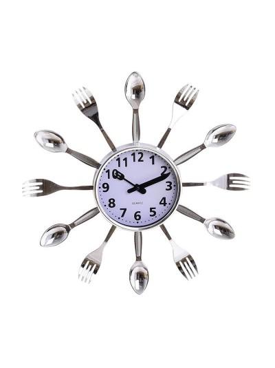 "INART Πλαστικό Ρολόι Τοίχου ""Κουτάλι-Πηρούνι""  Ασημί Κωδικός: 3-20-506-0001 Διαστάσεις: 35Χ4 Εκατοστά"