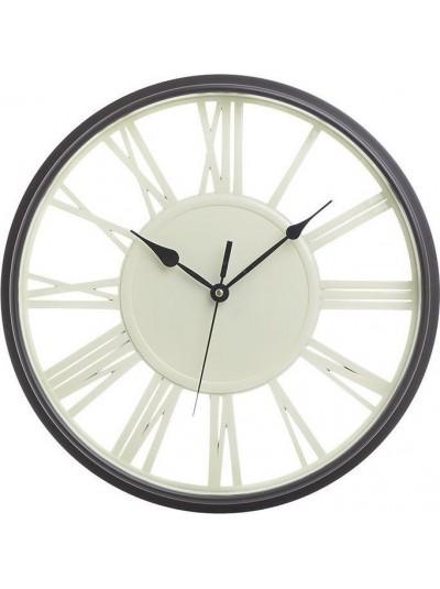 INART Ρολόι Τοίχου Πλαστικό Μίνιμαλ σε Αντικέ Λευκό/Μαύρο  Κωδικός: 3-20-828-0103 Διαστάσεις: 40Χ40Χ5 Εκατοστά