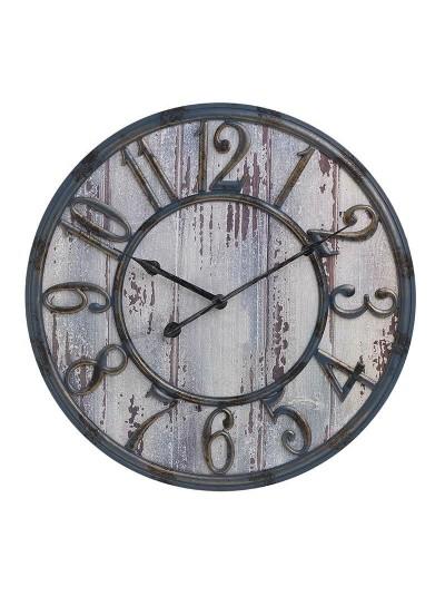 INART Πλαστικό Ρολόι Τοίχου Γκρι/Μπλε Αντικέ Κωδικός: 3-20-864-0108 Διαστάσεις; 43Χ4 Εκατοστά