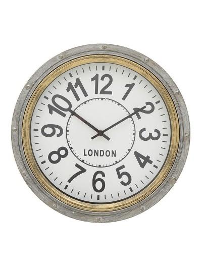INART Πλαστικό Ρολόι Τοίχου Αντικέ Γκρι/Χρυσό Κωδικός: 3-20-925-0018 Διαστάσεις: 40Χ5 Εκατοστά