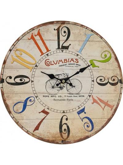 """Ρολόι Τοίχου MDF """"Ποδήλατο"""" INART Κωδικός: 3-20-977-0101 Διαστάσεις: 34Χ34Χ3 Εκατοστά"""