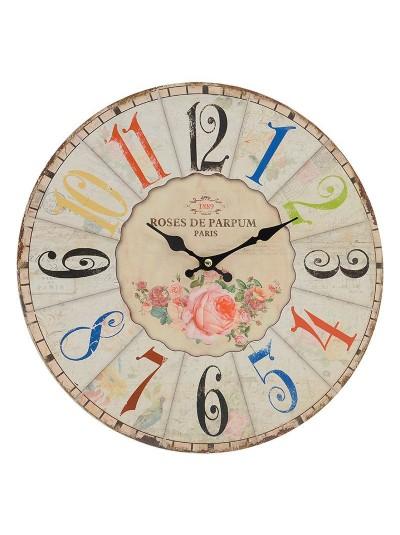 """Ρολόι Τοίχου MDF με Θέμα """"Τριαντάφυλλα"""" INART Κωδικός: 3-20-977-0104 Διαστάσεις: 34Χ34Χ3 Εκατοστά"""