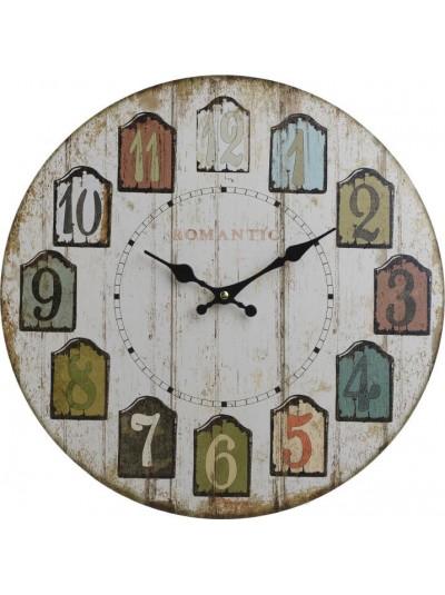 Ρολόι Τοίχου Ξύλινο Αντικέ Λευκό INART Κωδικός: 3-20-977-0255 Διαστάσεις: 40Χ3Χ40 Εκατοστά