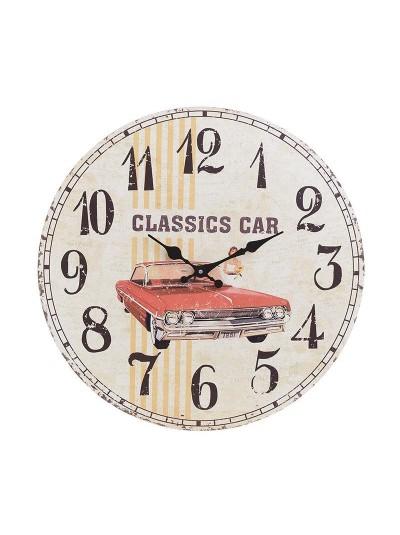 """INART Ξύλινο Ρολόι Τοίχου """"Αυτοκίνητο"""" Κωδικός: 3-20-977-0261 Διαστάσεις: 34Χ4 Εκατοστά"""