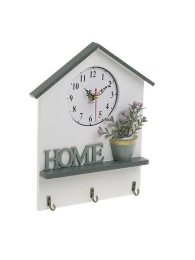 """INART Ρολόι Τοίχου Ξύλινο """"Σπιτάκι Home"""" Κωδικός: 6-20-151-0001 Διαστάσεις: 23Χ2Χ36 Εκατοστά"""