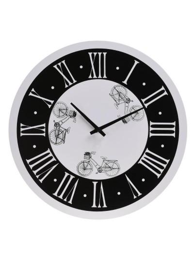 """INART Ρολόι Τοίχου Ξύλινο Ασπρόμαυρο """"Ποδήλατα"""" Κωδικός: 6-20-970-0001 Διαστάσεις: 30Χ4 Εκατοστά"""