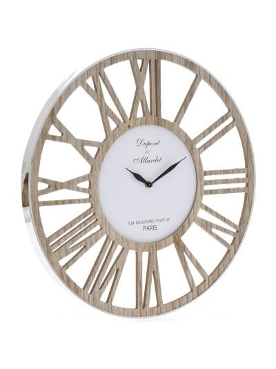 Ρολόι Τοίχου Ξύλινο με Inox Περίγραμμα