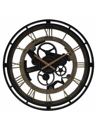 INART Πλαστικό Ρολόι Τοίχου Αντικέ Μαύρο/Χρυσό Κωδικός: 3-20-925-0009 Διαστάσεις: 50Χ4,5 Εκατοστά