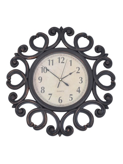 Ρολόι Πλάστικό Καφέ Αντικέ με Περίτεχνο Σχέδιο ANKOR Κωδικός: 795857 Διαστάσεις: 51 Εκατοστά