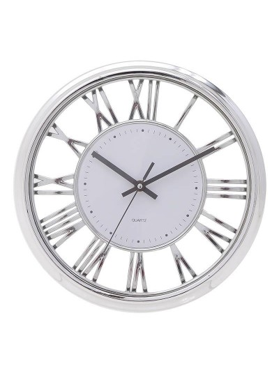 INART Ρολόι Τοίχου Πλαστικό Λευκό/Ασημί Κωδικός: 3-20-284-0121