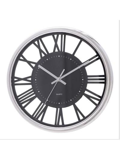 INART Ρολόι Τοίχου Πλατικό Ασημί Μαύρο Κωδικός: 3-20-284-0119 Διαστάσεις: 30,5X4X30,5 Εκατοστά