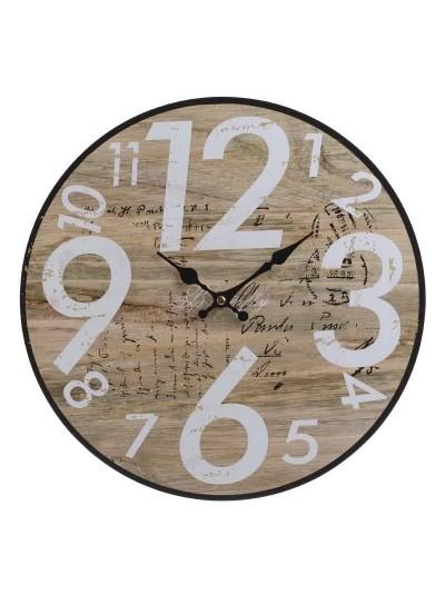 INART Ρολόι Τοίχου Ξύλινο Κωδικός: 3-20-977-0259 Διαστάσεις: 40Χ3 Εκατοστά