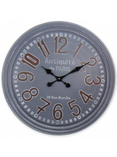 Μεταλλικό Ρολόι Τοίχου Γκρι Αντικέ ORIANA FERELLI Κωδικός: XY19011463  Διάμετρος: 63,5 Εκατοστά