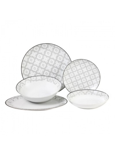Σετ Φαγητού 20 Τεμαχίων FYLLIANA Λευκό|Γκρι Κωδικός: 0032-91-002