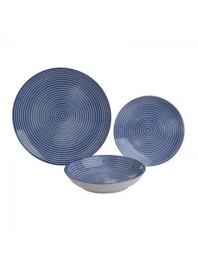 Σετ Φαγητού 18 Τεμαχίων INART Μπλε Πορσελάνη Κωδικός: 3-60-142-0016
