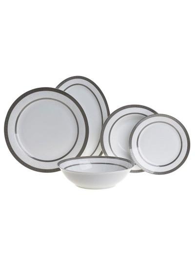 Σετ Φαγητού Πορσελάνης 20 Τεμαχίων INART Λευκό με Ασημί Λεπτομέρειες Κωδικός: 3-60-707-0001