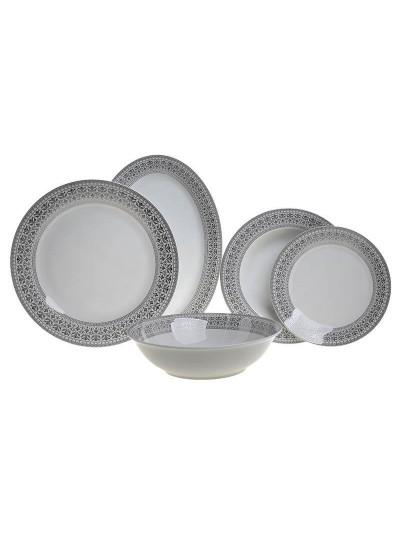 Σετ Φαγητού Πορσελάνης 20 Τεμαχίων INART Λευκό με Ασημί Λεπτομέρειες Κωδικός: 3-60-707-0005