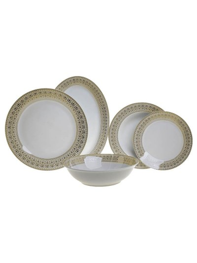 Σετ Φαγητού Πορσελάνης 20 Τεμαχίων INART Λευκό με Χρυσές Λεπτομέρειες Κωδικός: 3-60-707-0009
