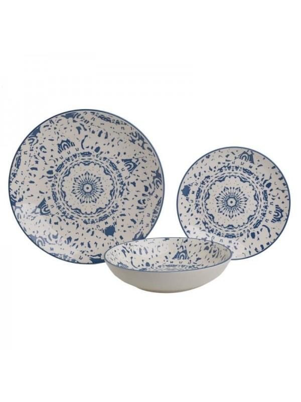 INART Σετ Φαγητού 18 Τεμαχίων Stoneware Λευκό με Μπλε Μοτίβο Κωδικός: 3-60-766-0009