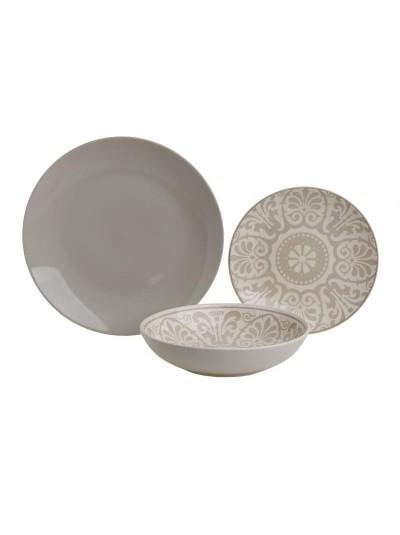 INART Σετ Φαγητού 18 Τεμαχίων Stoneware Μπεζ Μοτίβο Κωδικός: 3-60-766-0013