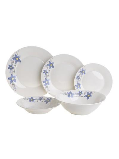 INART Σετ Φαγητού 20 Τεμαχίων Πορσελάνης με Διακοσμητικά Λουλούδια Μπλε Κωδικός: 6-60-127-0003