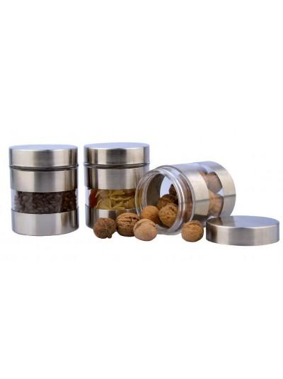 Σετ 3 Βάζα Κουζίνας Γυάλινα με Inox Λεπτομέρειες 1002920