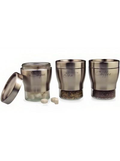 Σετ 3 Βάζα Γυάλινα Coffee Sugar Tea με Inox Λεπτομέρειες 1006870