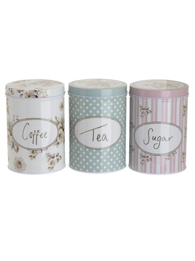 "INART Σετ 3 Δοχεία Αποθήκευσης ""Coffee Tea Sugar"" Μεταλλικά με Διάφορα Ρομαντικά Σχέδια Κωδικός: 6-60-151-0018 Διαστάσεις: 10Χ14,5 Εκατοστά"