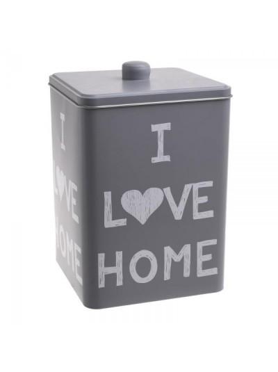 "INART Δοχείο Με Καπάκι Μεταλλικό Γκρι ""I Love Home"" Κωδικός: 6-60-229-0008 Διαστάσεις: 15Χ15Χ22,5 Εκατοστά"