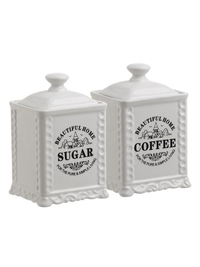 INART Σετ Δοχείο Καφέ/Ζάχαρης Πορσελάνης Κωδικός: 6-60-690-0004 Διαστάσεις: 10Χ16 Εκατοστά