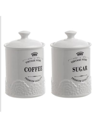 INART Σετ Δοχείο Καφέ/Ζάχαρης Πορσελάνης Κωδικός: 6-60-690-0007 Διαστάσεις: 10Χ16 Εκατοστά