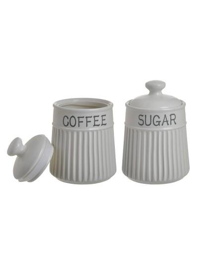 INART Σετ/2  Δοχείο Καφέ/Ζάχαρης Πορσελάνης Κωδικός: 6-60-690-0016 Διαστάσεις: 11Χ16 εκατοστά