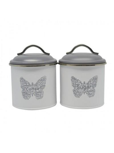 Σετ 2 Δοχεία Coffee Sugar Γκρι Μεταλλικά με Διακοσμητική Πεταλούδα ANKOR Kωδικός: 794140