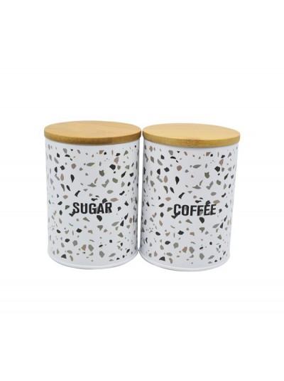 Σετ 2 Δοχεία Coffee Sugar Μεταλλικά με Σχέδιο ANKOR Κωδικός: 794171 Διαστάσεις: 9,5Χ13 Εκατοστά