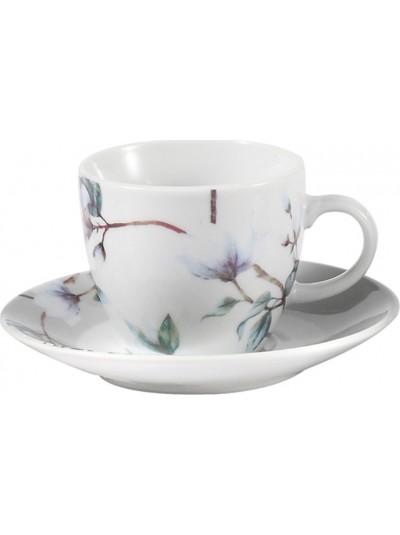 Σετ 6 Τεμαχίων Φλυτζάνια του Καφέ Πορσελάνης FYLLIANA Λευκό με Μωβ Κωδικός: 0032-91-005
