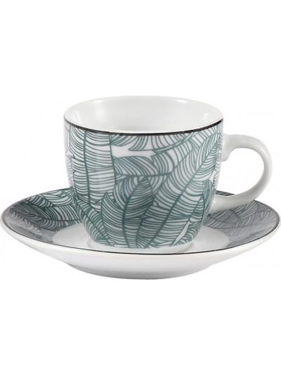 Σετ 6 Τεμαχίων Φλυτζάνια του Καφέ  Πορσελάνης FYLLIANA Λευκό με Πράσινα Κωδικός: 0032-91-006