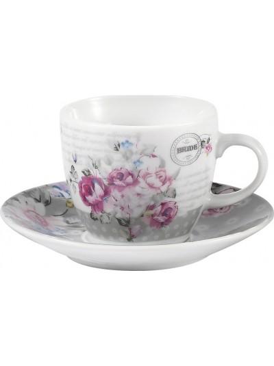 Σετ 6 Τεμαχίων Φλυτζάνια του Καφέ FYLLIANA Λευκό/Ροζ Κωδικός: 0032-91-007