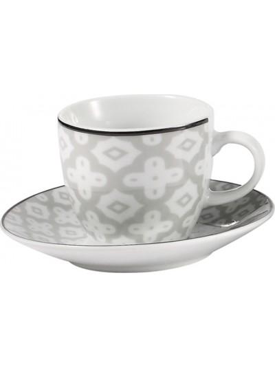 Σετ 6 Τεμαχίων Φλυτζάνια του Καφέ Πορσελάνης FYLLIANA  Λευκό/Γκρι Κωδικός: 0032-91-008