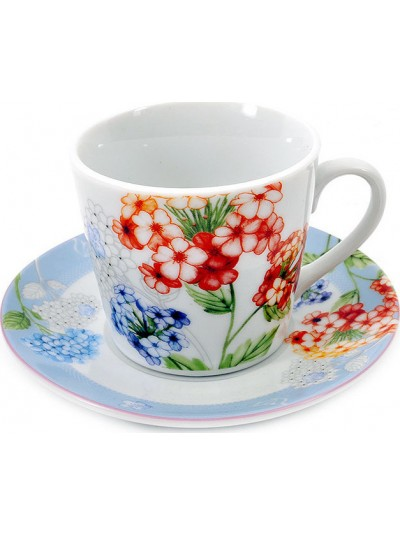 Σετ  6 Τεμαχίων  Φλυτζάνια του Καφέ Πορσελάνης FYLLIANA  Φλοράλ Κωδικός: 04-16-056