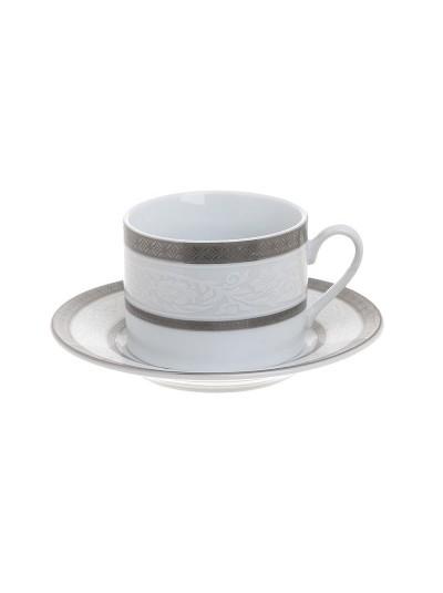 Σετ 6 Τεμαχίων Φλυτζάνια Καφέ Πορσελάνης με Ασημί Λεπτομέρειες INART Κωδικός: 3-60-707-0003
