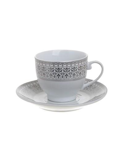 Σετ 6 Τεμαχίων Φλυτζάνια Καφέ Πορσελάνης Λευκό με Ασημί INART Κωδικός: 3-60-707-0007