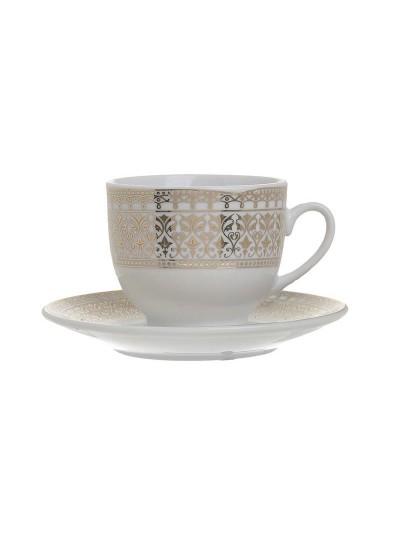 Σετ 6 Τεμαχίων Φλυτζάνια Καφέ Πορσελάνης Λευκό με Χρυσό INART Κωδικός: 3-60-707-0011