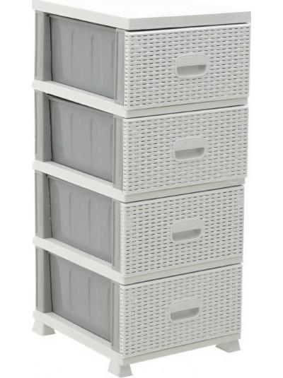 INART Συρταριέρα Πλαστική με 4 Συρτάρια Rattan Κωδικός: 6-50-886-0017 Διαστάσεις: 48x40x91 Εκατοστά 6-50-886-0017