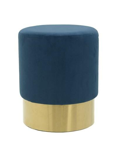 INART Σκαμπώ Βελούδινο Μπλε με Χρυσή Βάση Κωδικός; 3-50-104-0316 Διαστάσεις: 35Χ35Χ42 Εκατοστά